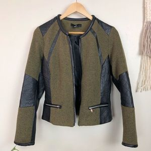H&M Olive Green Quilted Leather Jacket
